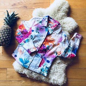 Coldwater Creek Multi-Color Floral Linen Jacket